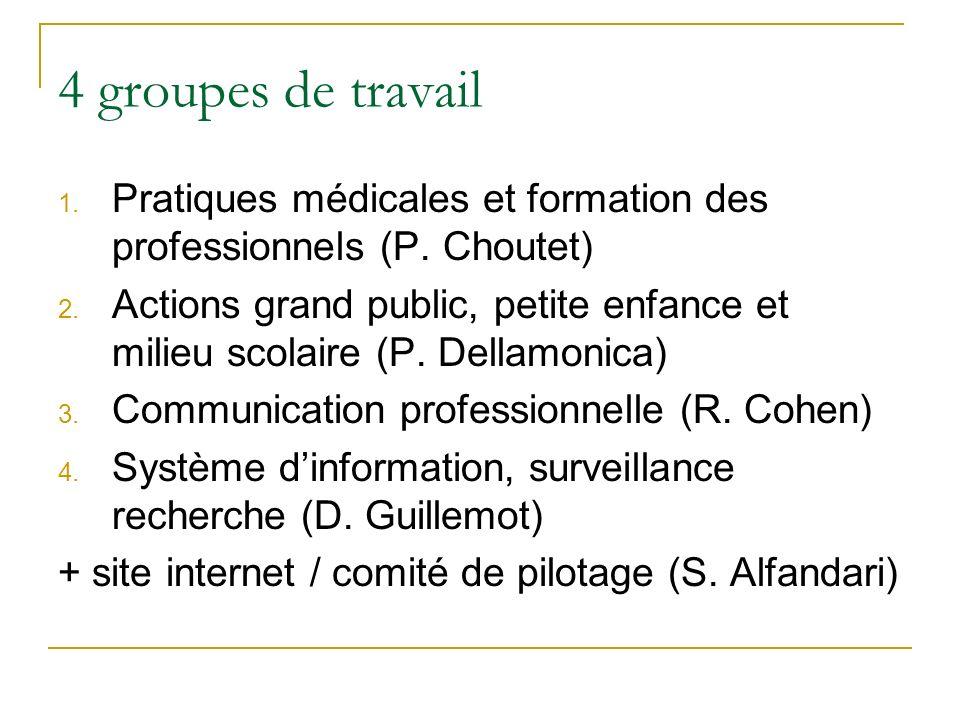 4 groupes de travail Pratiques médicales et formation des professionnels (P. Choutet)