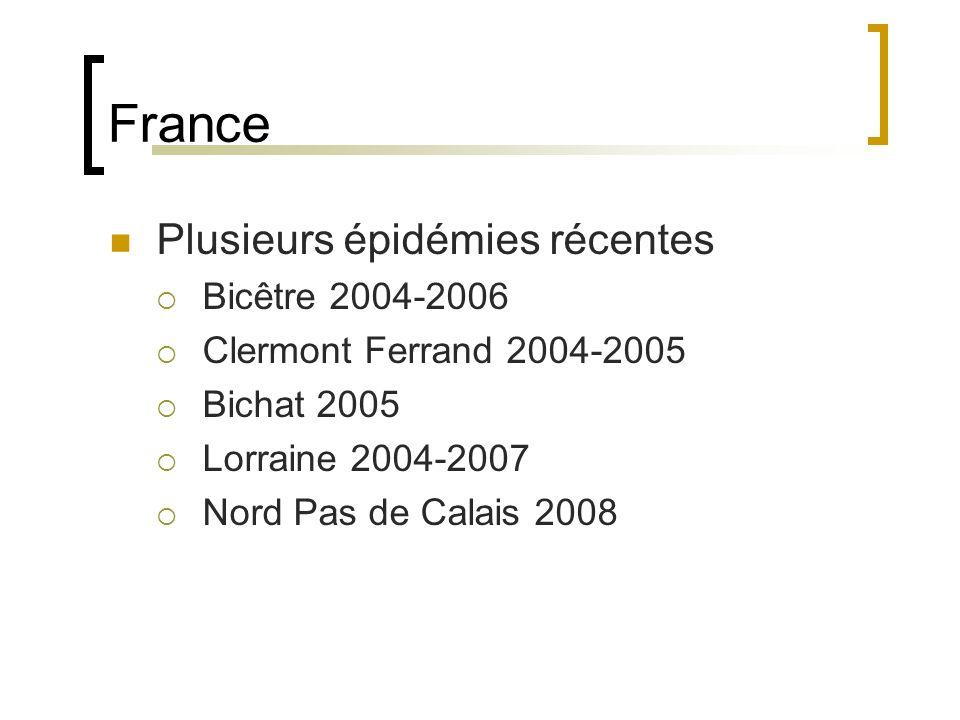 France Plusieurs épidémies récentes Bicêtre 2004-2006