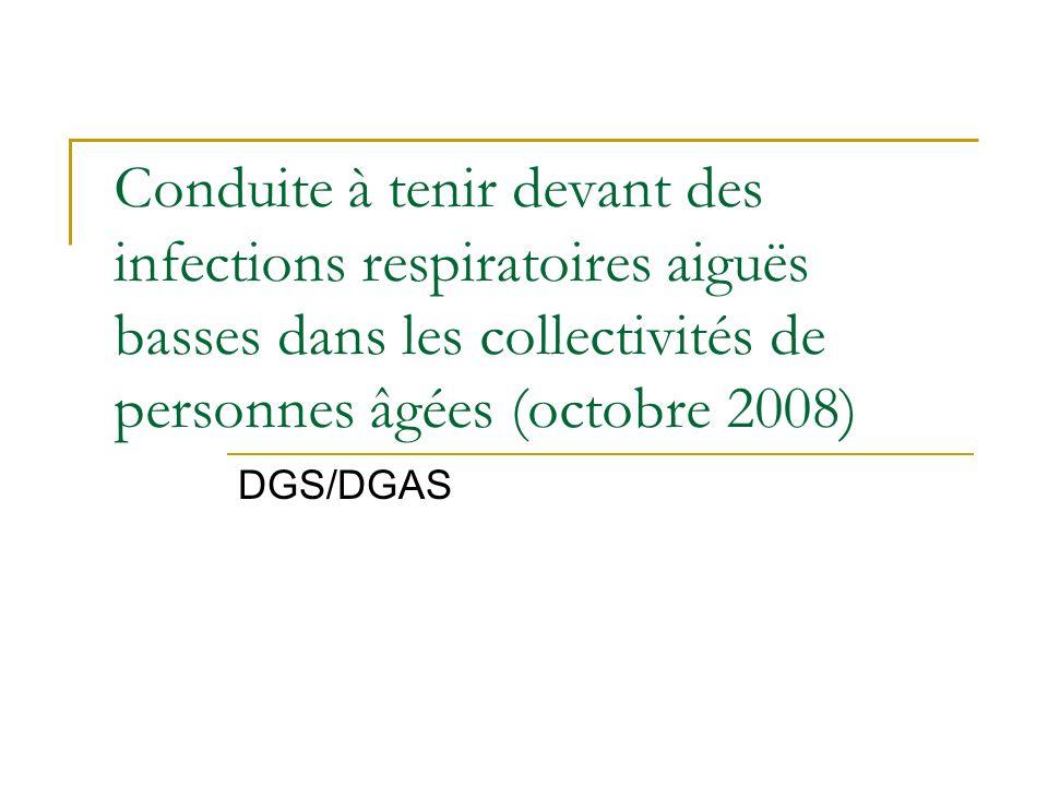Conduite à tenir devant des infections respiratoires aiguës basses dans les collectivités de personnes âgées (octobre 2008)