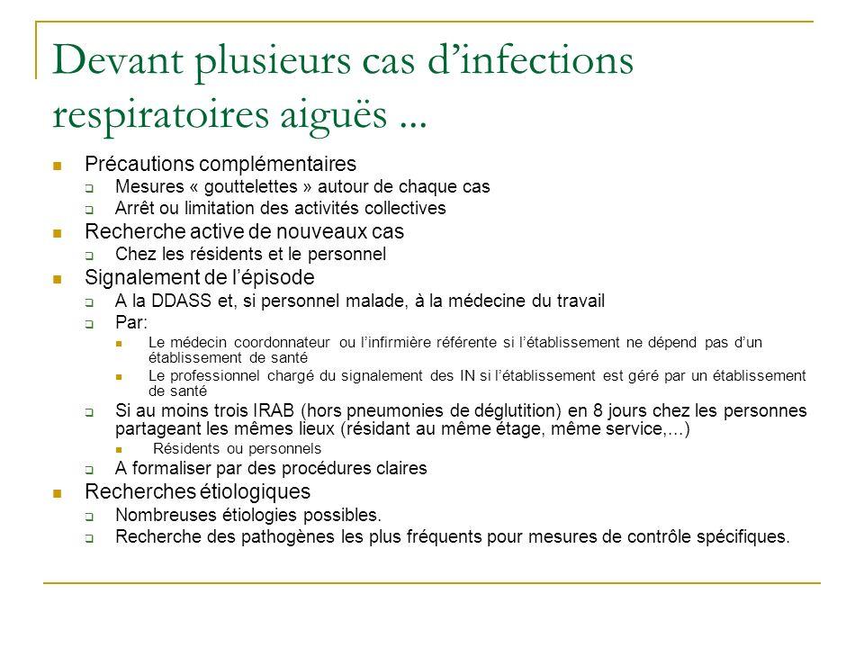 Devant plusieurs cas d'infections respiratoires aiguës ...