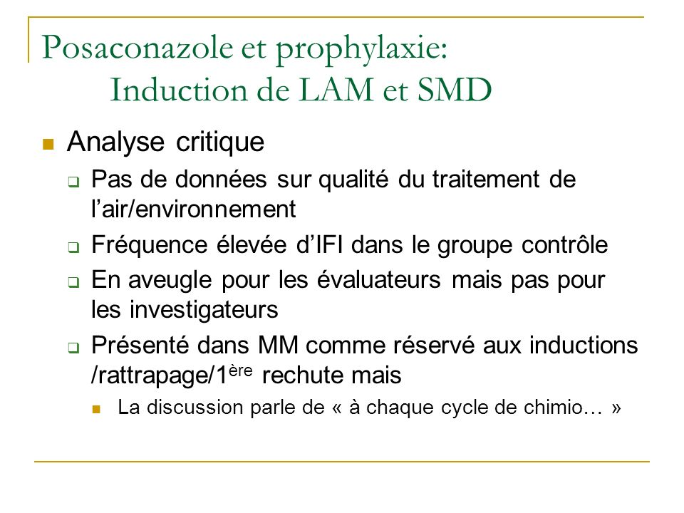 Posaconazole et prophylaxie: Induction de LAM et SMD