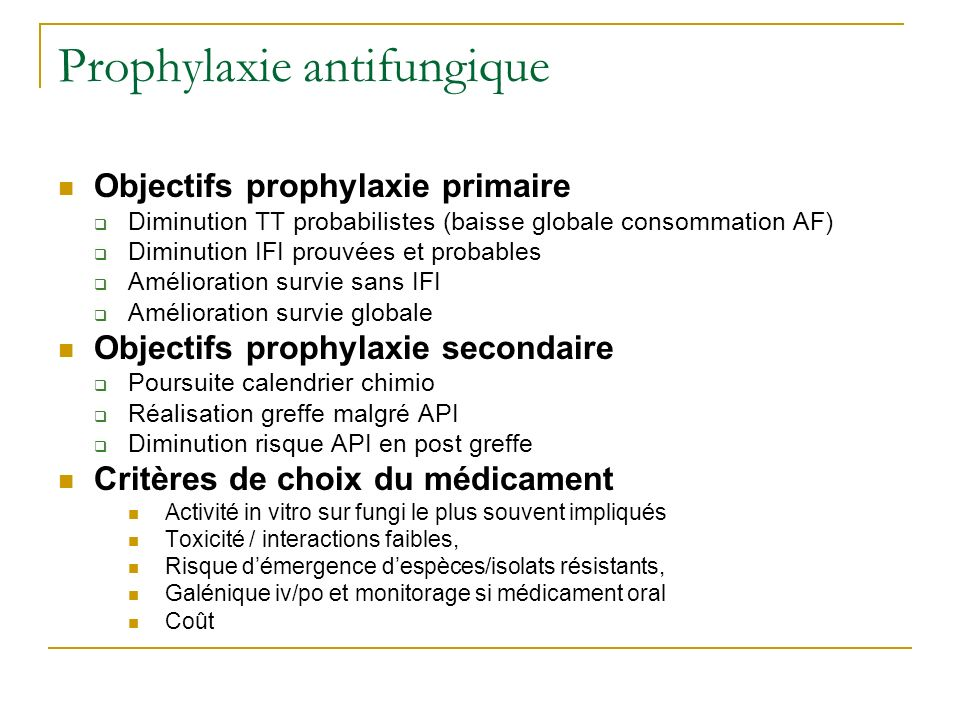 Prophylaxie antifungique