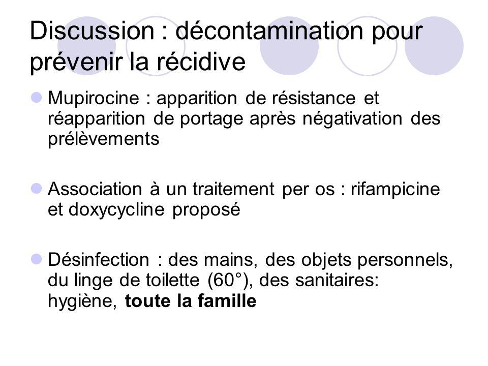 Discussion : décontamination pour prévenir la récidive