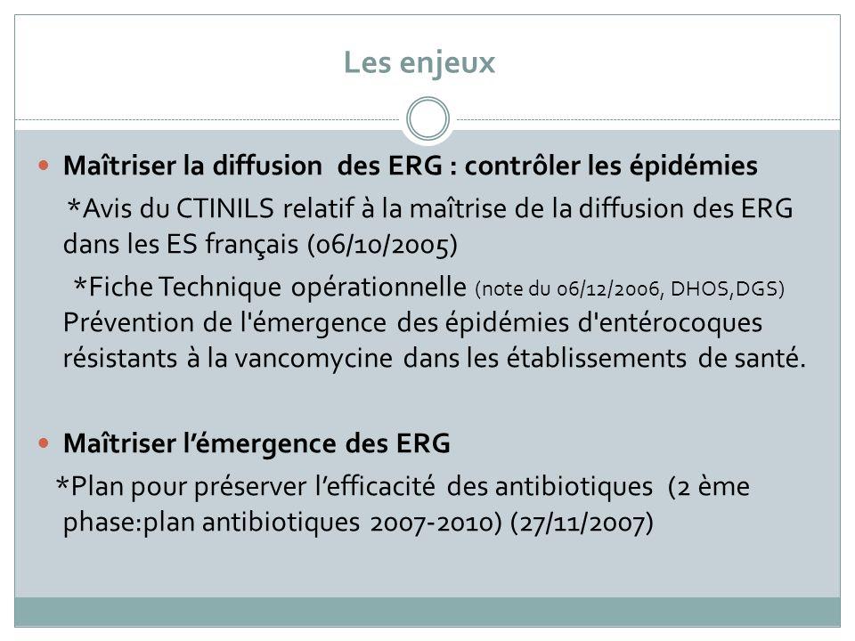 Les enjeux Maîtriser la diffusion des ERG : contrôler les épidémies
