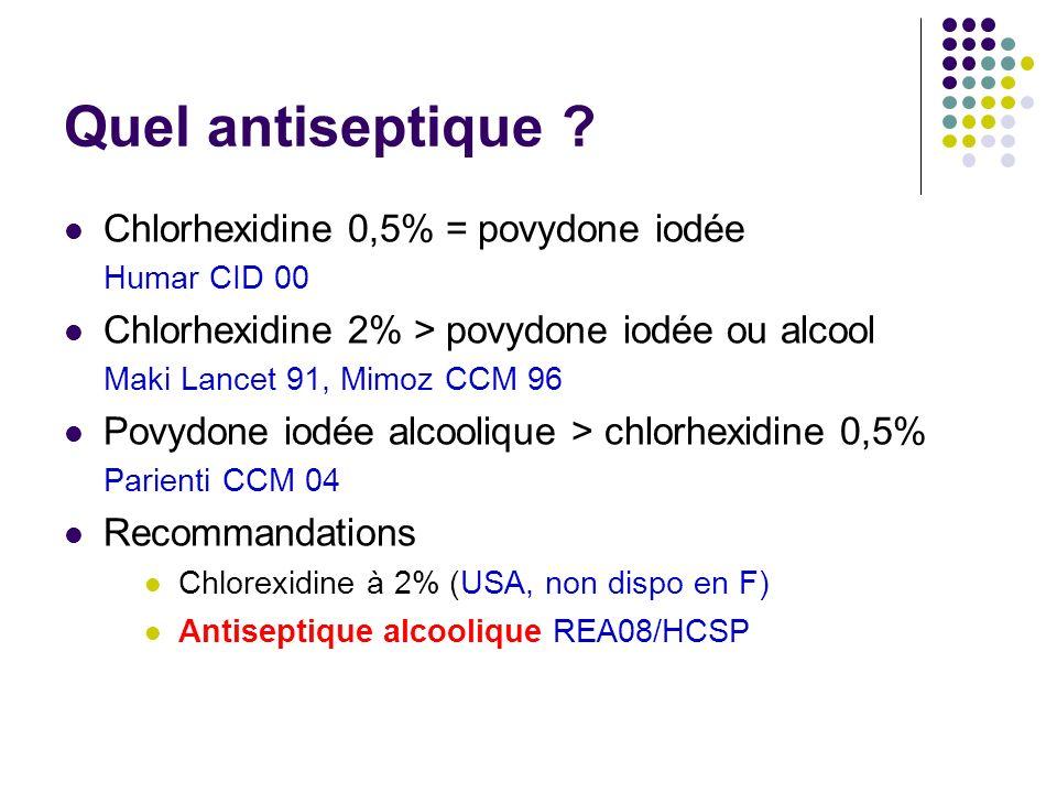 Quel antiseptique Chlorhexidine 0,5% = povydone iodée