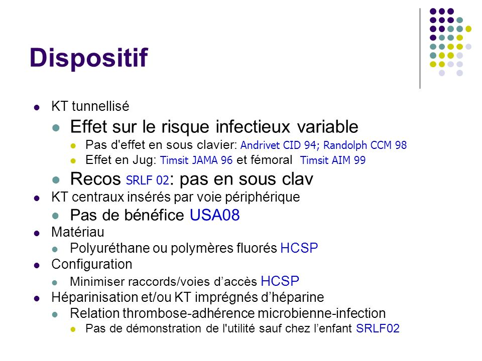 Dispositif Effet sur le risque infectieux variable