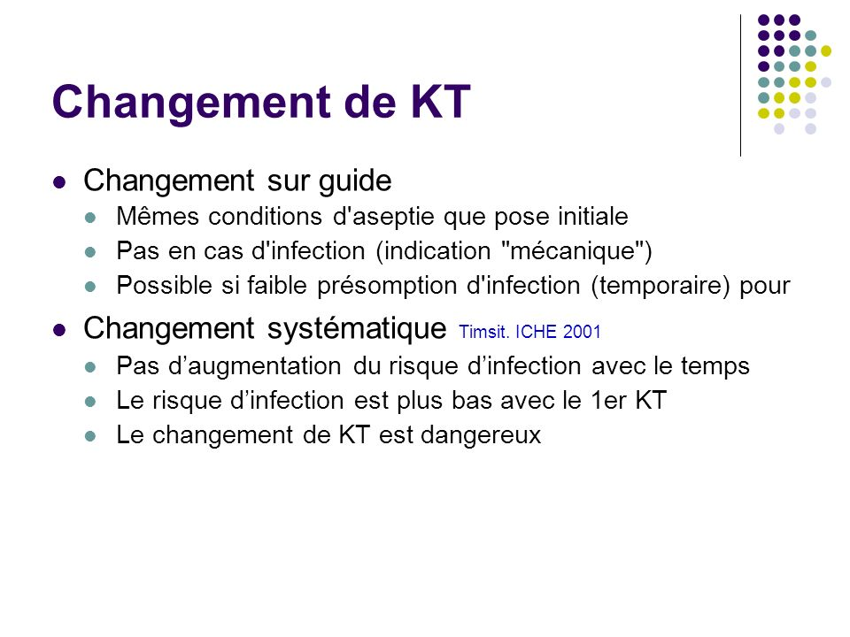 Changement de KT Changement sur guide