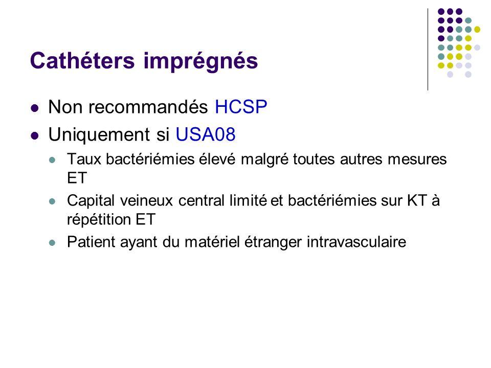Cathéters imprégnés Non recommandés HCSP Uniquement si USA08