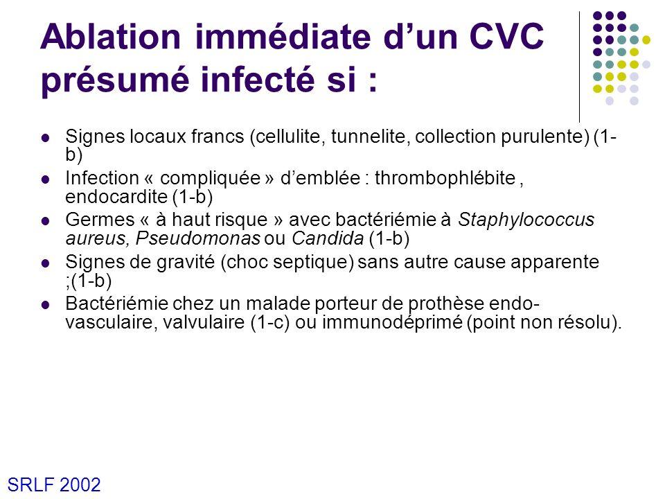 Ablation immédiate d'un CVC présumé infecté si :