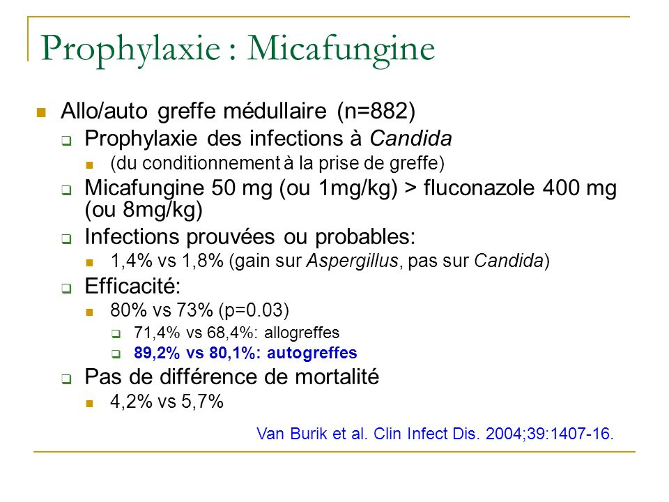 Prophylaxie : Micafungine