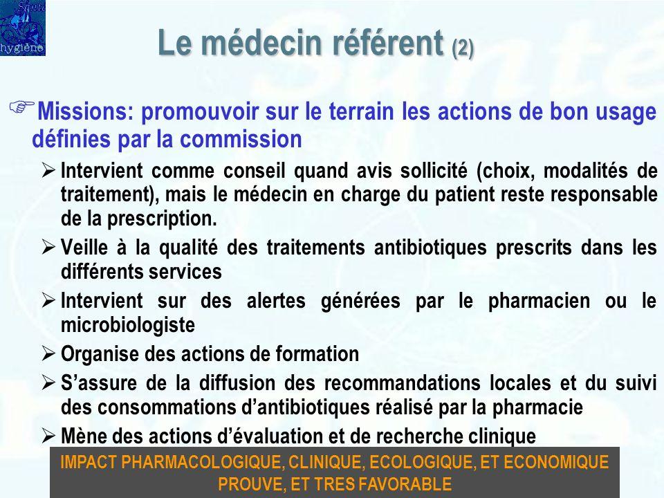 Le médecin référent (2) Missions: promouvoir sur le terrain les actions de bon usage définies par la commission.