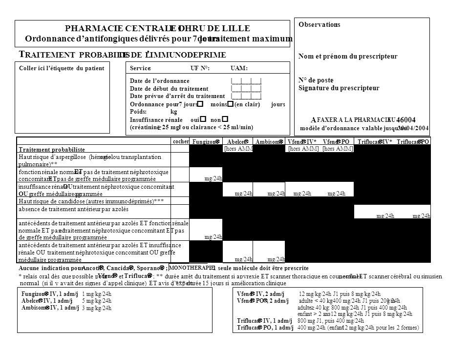 T ' PHARMACIE CENTRALE D U CHRU DE LILLE