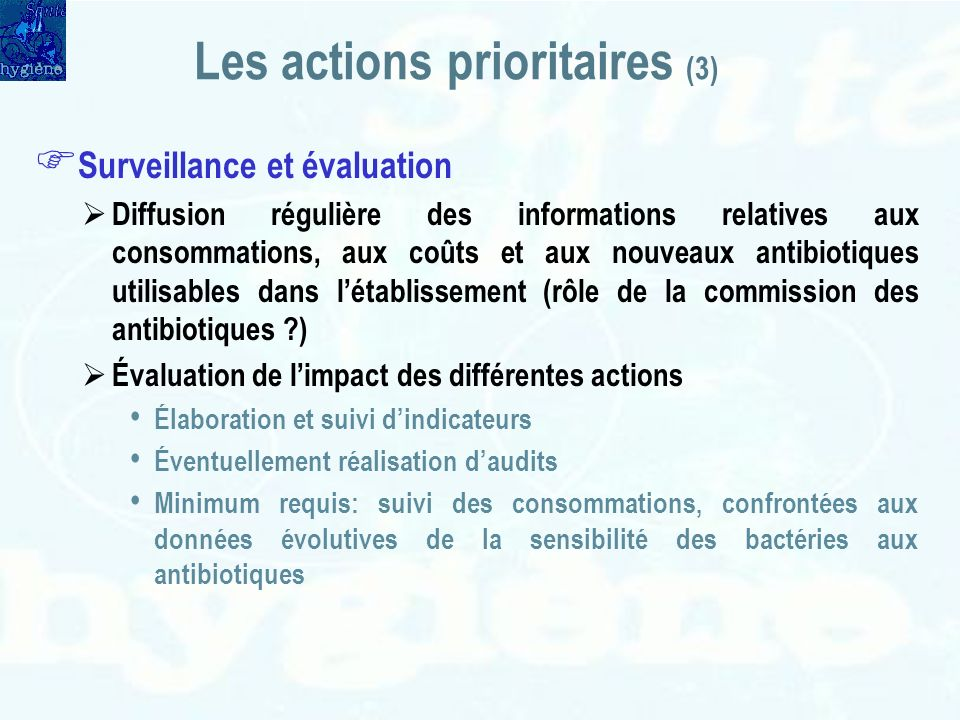Les actions prioritaires (3)