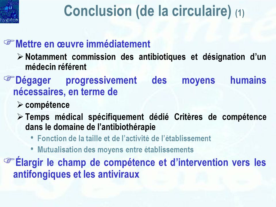 Conclusion (de la circulaire) (1)