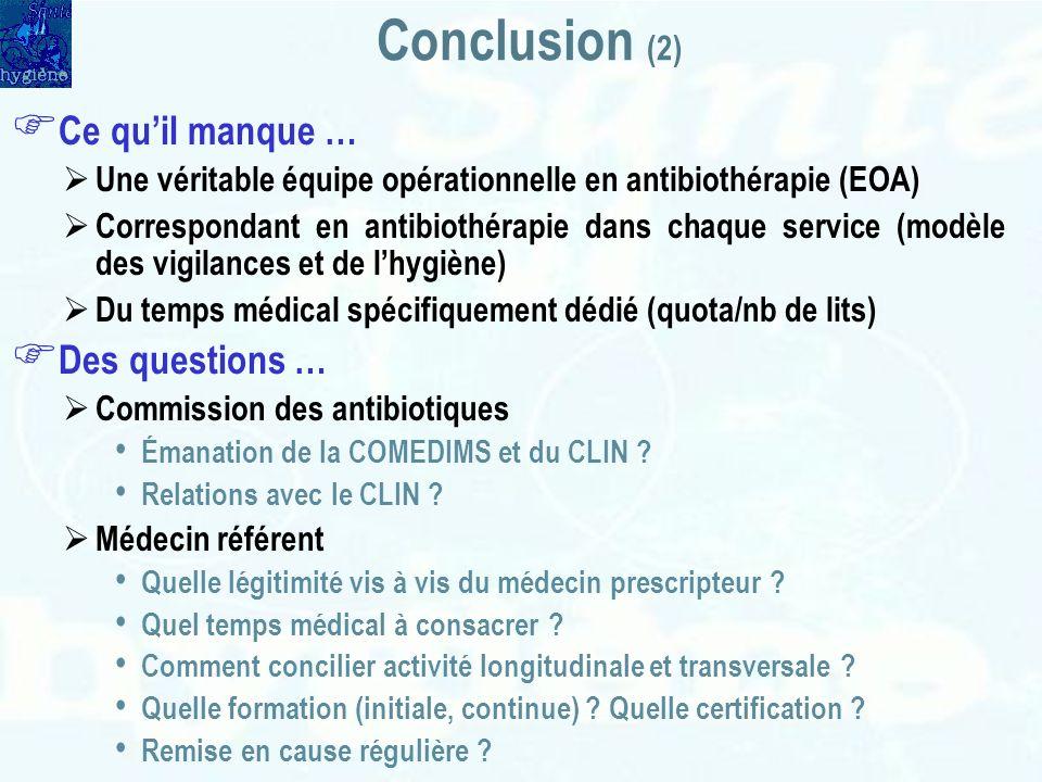 Conclusion (2) Ce qu'il manque … Des questions …