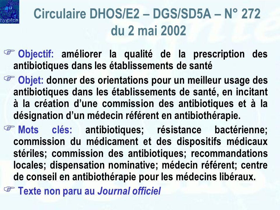 Circulaire DHOS/E2 – DGS/SD5A – N° 272 du 2 mai 2002
