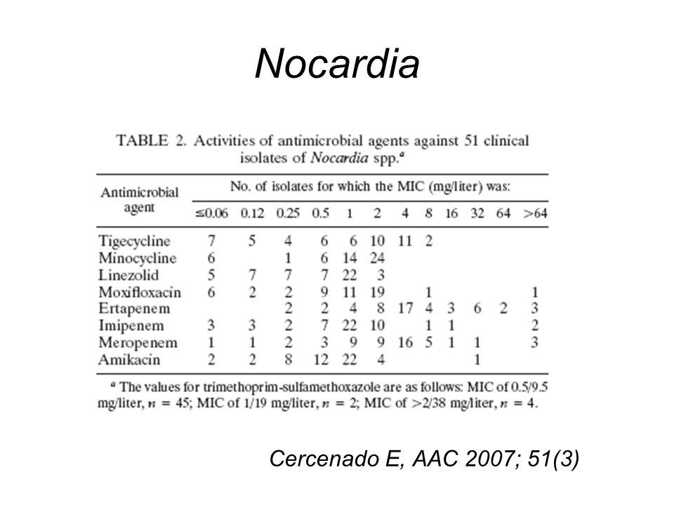 Nocardia Cercenado E, AAC 2007; 51(3)