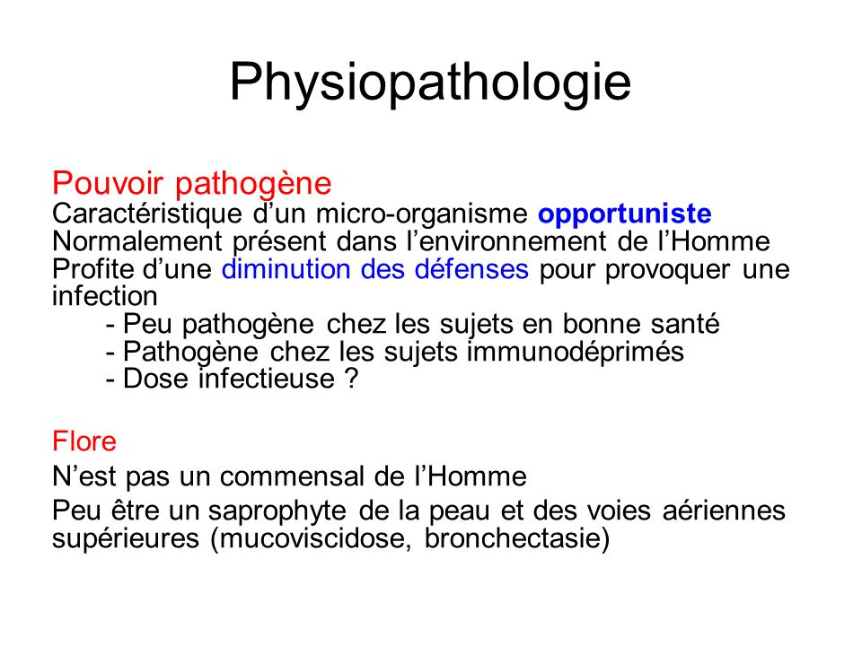 Physiopathologie Pouvoir pathogène