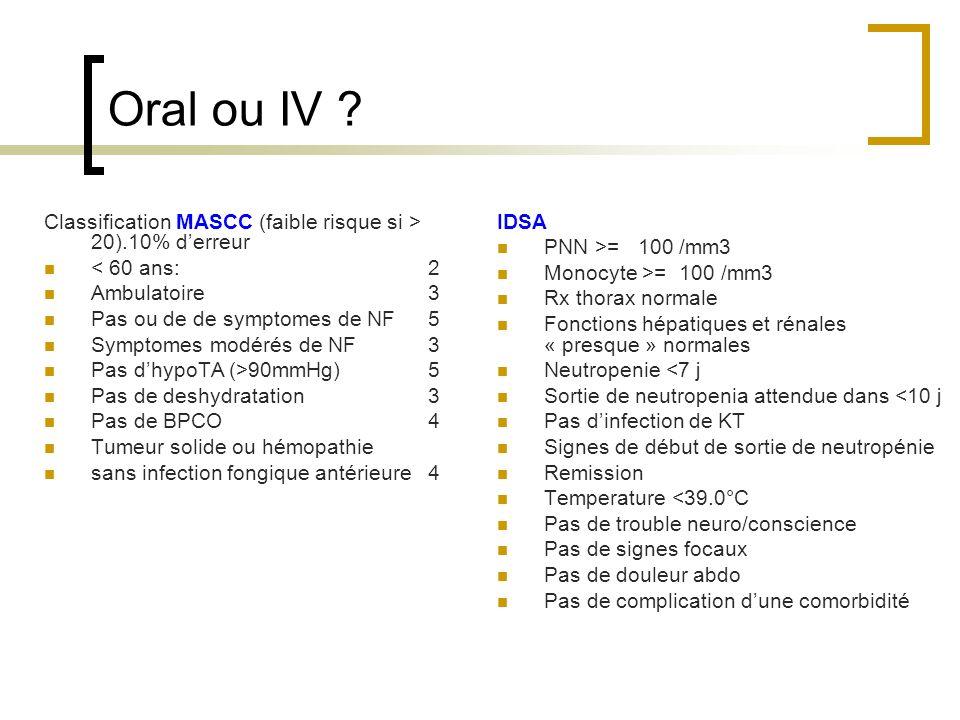 Oral ou IV Classification MASCC (faible risque si > 20).10% d'erreur. < 60 ans: 2. Ambulatoire 3.