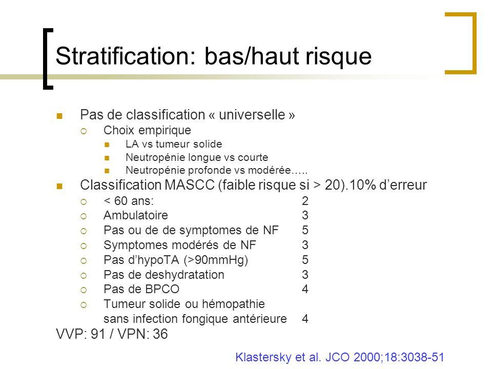 Stratification: bas/haut risque