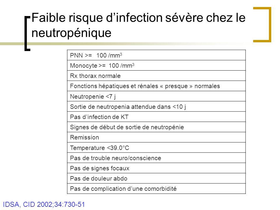 Faible risque d'infection sévère chez le neutropénique