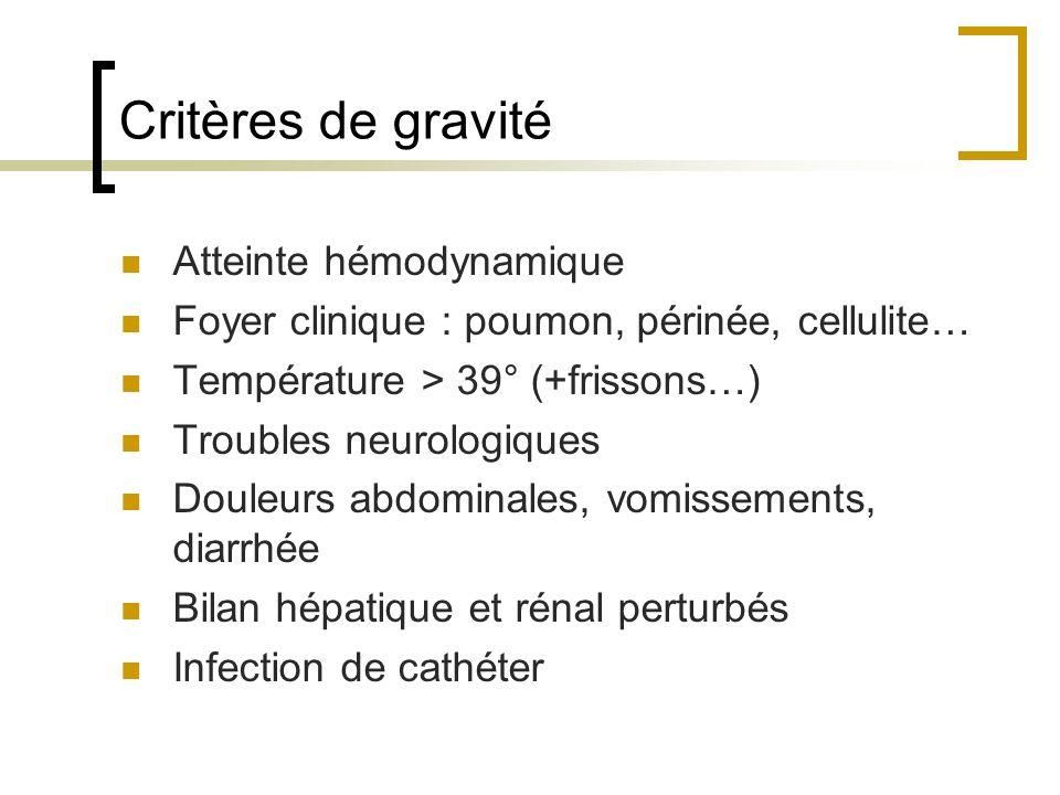 Critères de gravité Atteinte hémodynamique