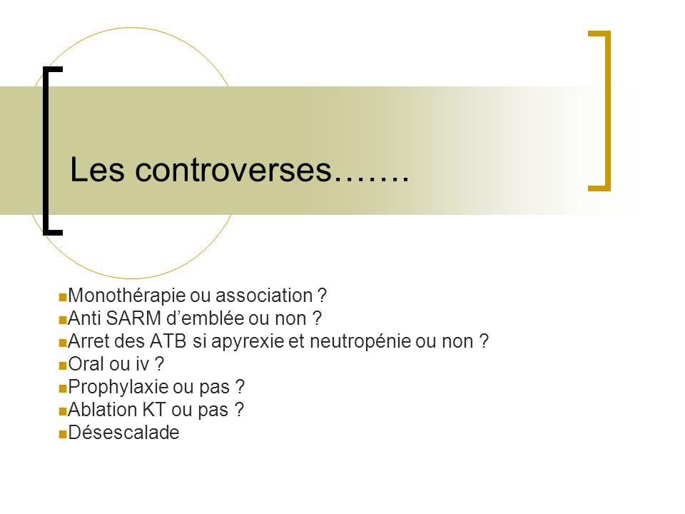 Les controverses……. Monothérapie ou association