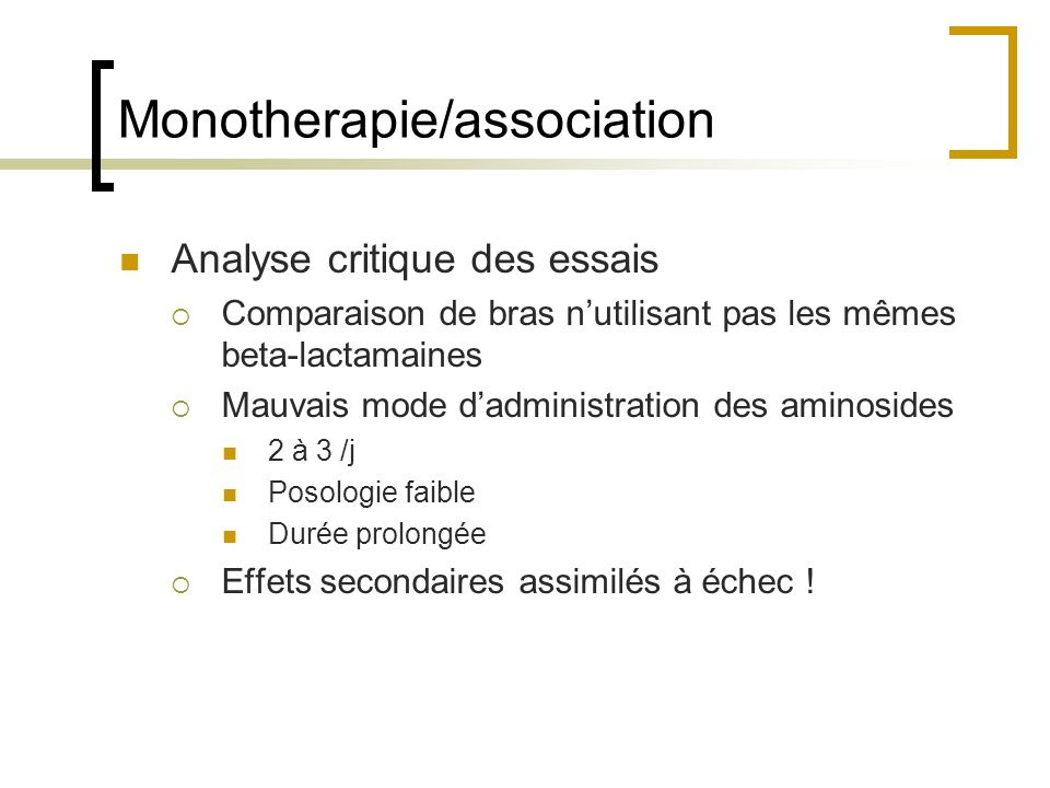 Monotherapie/association