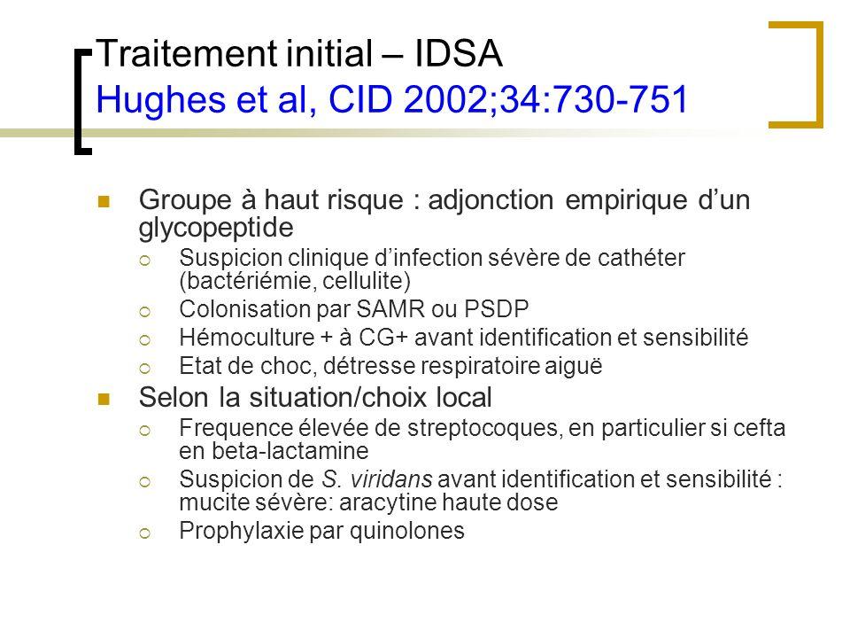 Traitement initial – IDSA Hughes et al, CID 2002;34:730-751