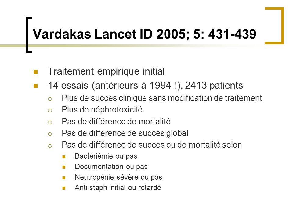 Vardakas Lancet ID 2005; 5: 431-439 Traitement empirique initial