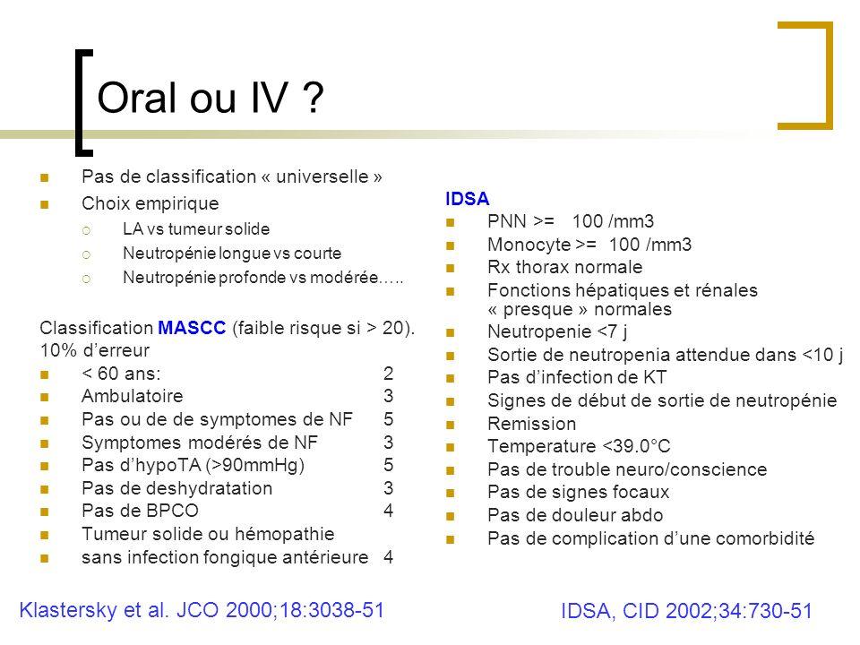 Oral ou IV Klastersky et al. JCO 2000;18:3038-51