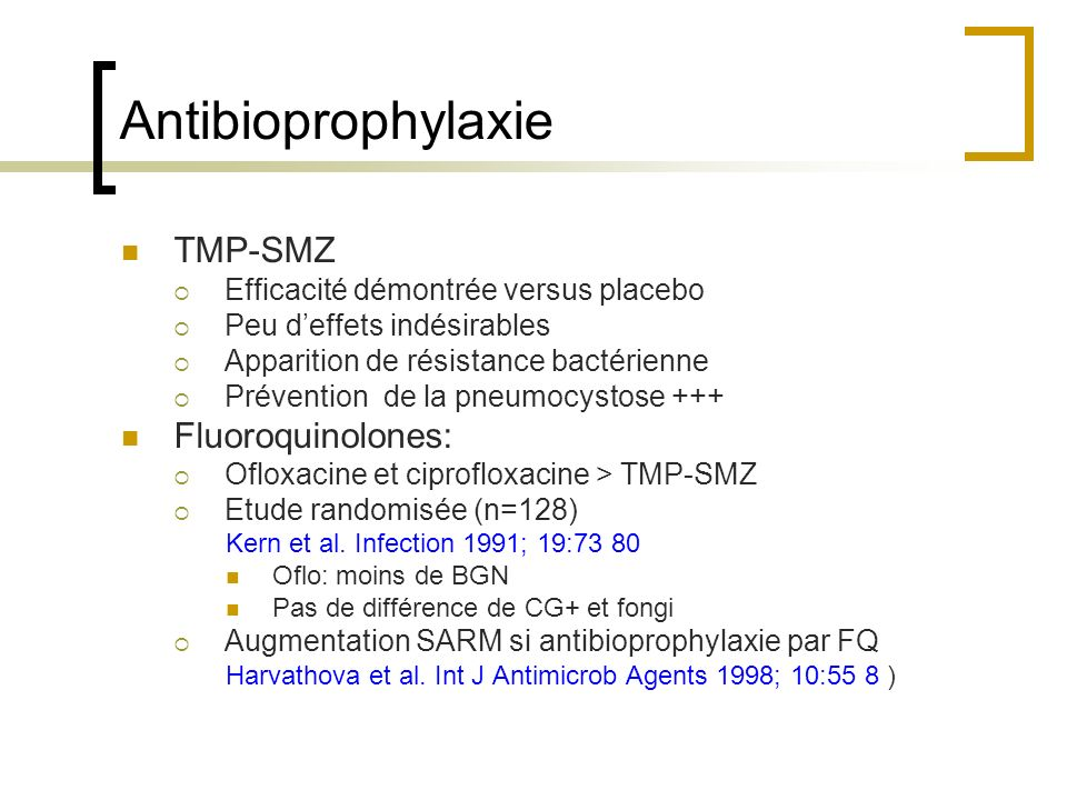 Antibioprophylaxie TMP-SMZ Fluoroquinolones: