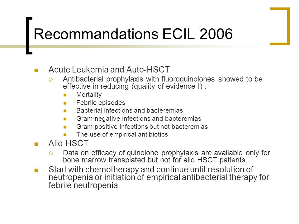 Recommandations ECIL 2006 Acute Leukemia and Auto-HSCT Allo-HSCT
