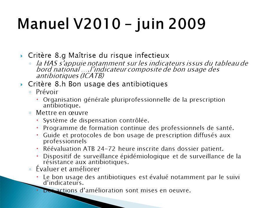 Manuel V2010 – juin 2009 Critère 8.g Maîtrise du risque infectieux