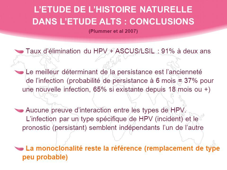 L'ETUDE DE L'HISTOIRE NATURELLE DANS L'ETUDE ALTS : CONCLUSIONS (Plummer et al 2007)