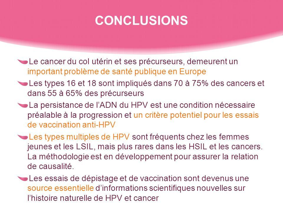 CONCLUSIONS Le cancer du col utérin et ses précurseurs, demeurent un important problème de santé publique en Europe.