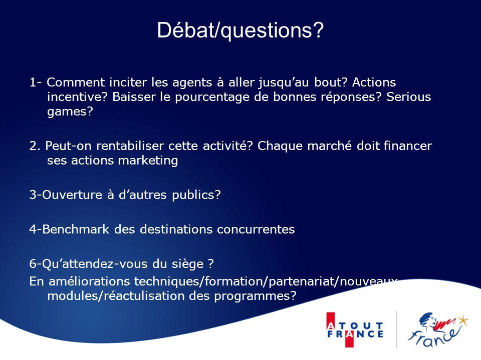 Débat/questions 1- Comment inciter les agents à aller jusqu'au bout Actions incentive Baisser le pourcentage de bonnes réponses Serious games
