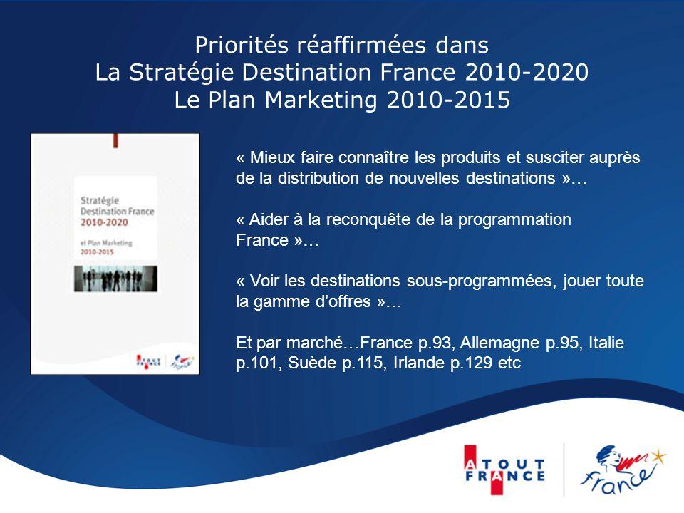 Priorités réaffirmées dans La Stratégie Destination France 2010-2020