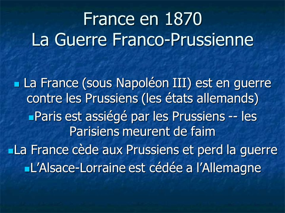 France en 1870 La Guerre Franco-Prussienne