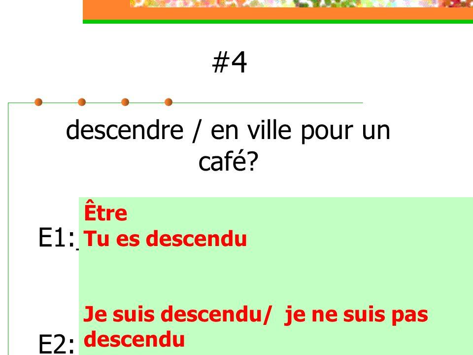 #4 descendre / en ville pour un café E1:_________________________ E2:__________________________ Être.