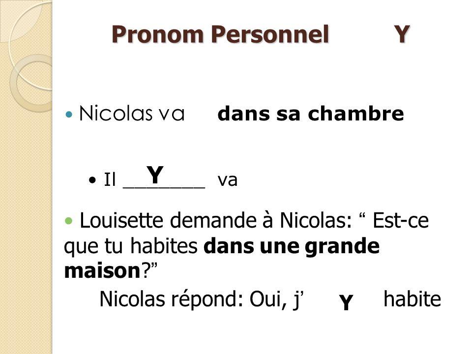 Pronom Personnel Y Y Nicolas va
