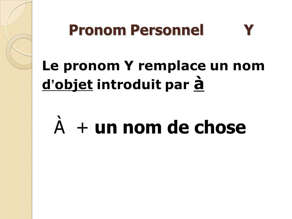 À + un nom de chose Pronom Personnel Y