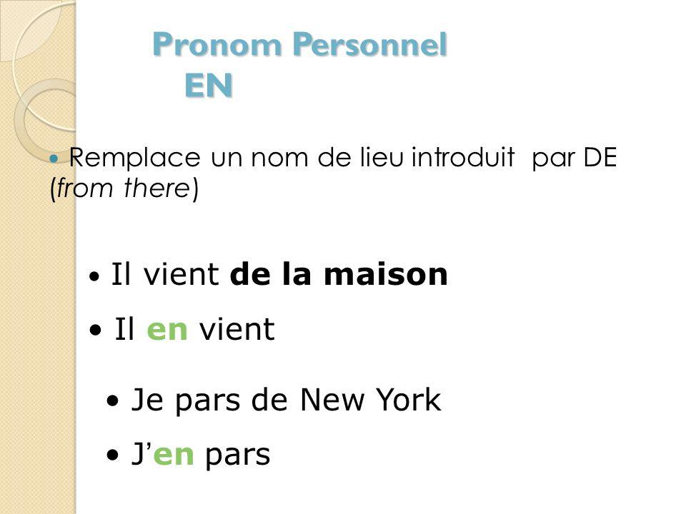 Pronom Personnel EN Il en vient Je pars de New York J'en pars