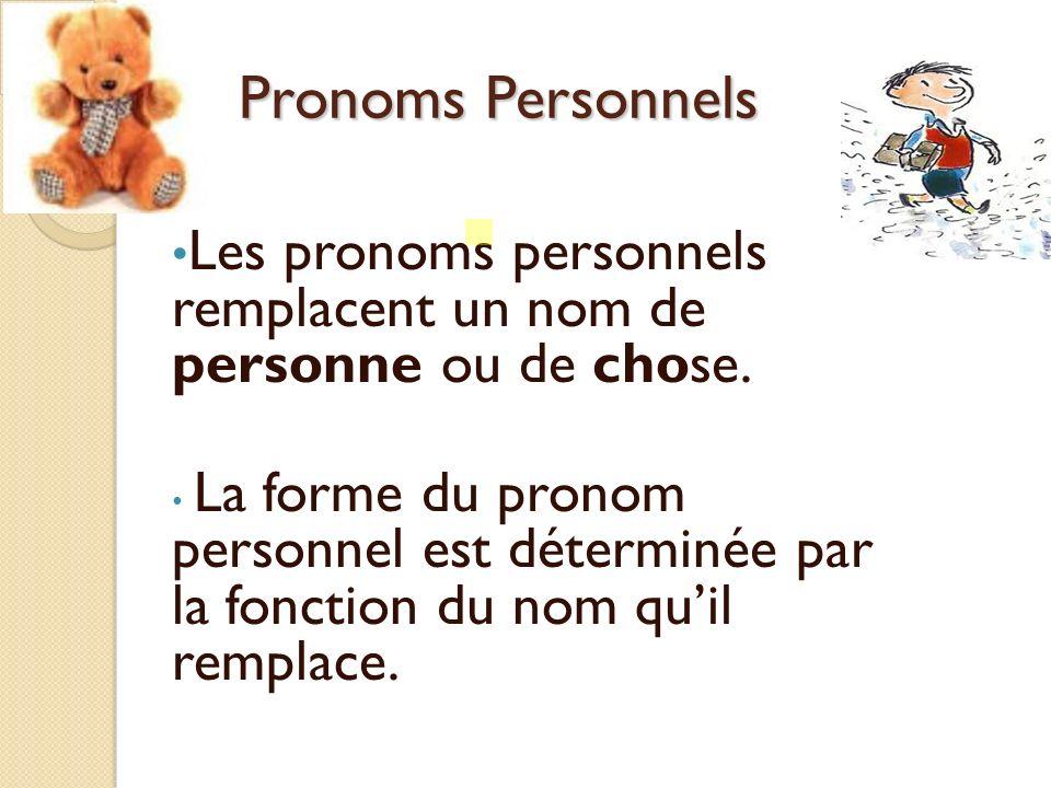 Pronoms PersonnelsLes pronoms personnels remplacent un nom de personne ou de chose.