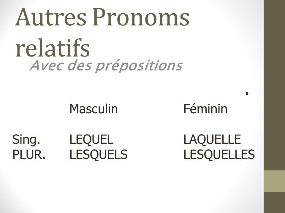 Autres Pronoms relatifs