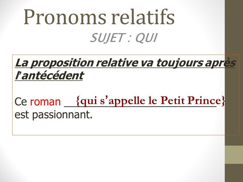 Pronoms relatifs SUJET : QUI {qui s'appelle le Petit Prince}