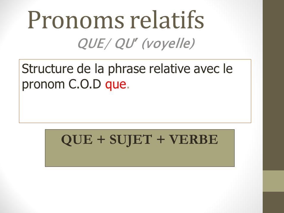 Pronoms relatifs QUE + SUJET + VERBE QUE/ QU' (voyelle)