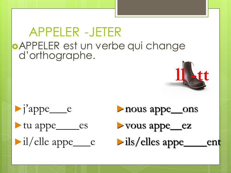 ll -tt APPELER -JETER j'appe___e tu appe____es il/elle appe___e