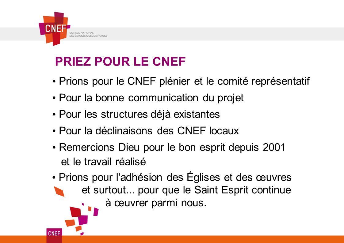 PRIEZ POUR LE CNEF Prions pour le CNEF plénier et le comité représentatif. Pour la bonne communication du projet.