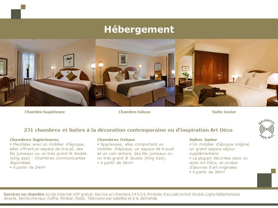 HébergementChambre Supérieure. Chambre Deluxe. Suite Junior. 231 chambres et Suites à la décoration contemporaine ou d'inspiration Art Déco.